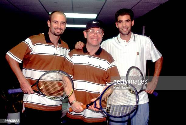 British musician Elton John poses with American tennis players Andre Agassi and Pete Sampras Chicago Illinois 1993