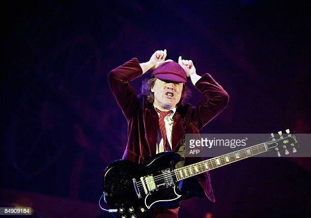 British musician from rockband AC/DC guitarist Angus Young performs at Telenor Arena on Fornebu, outside Oslo on February 18, 2009. It was the first...