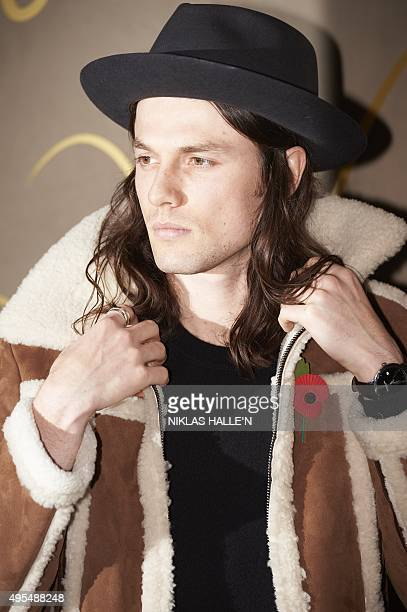British musician James Bay poses on arrival for the premiere of the Burberry festive film in London on November 3 2015 AFP PHOTO / NIKLAS HALLE'N