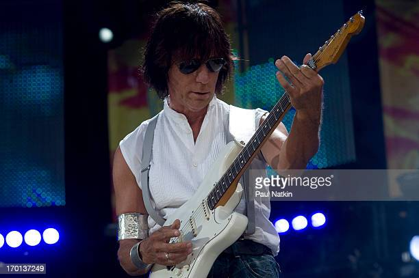 British musician Jeff Beck plays guitar onstage during a performance at Eric Clapton's Crossroads Guitar Festival at Toyota Park, Bridgeview,...