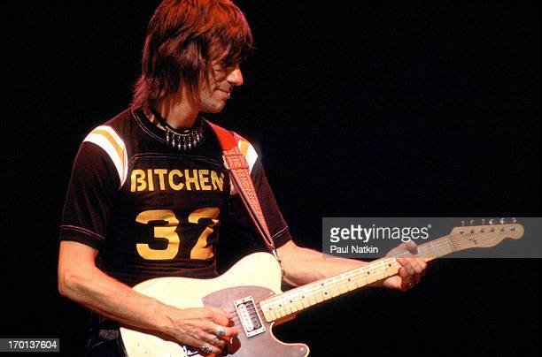 British musician Jeff Beck plays guitar onstage during a performance at the Granada Theater, Chicago, Illinois, October 19, 1980.