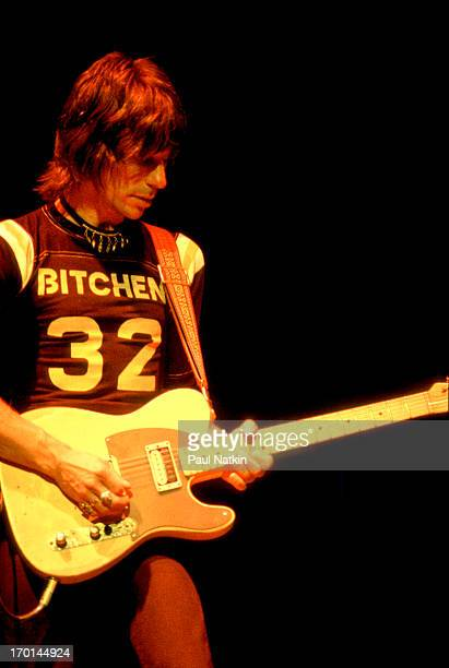 British musician Jeff Beck plays guitar onstage during a performance at the Granada Theater Chicago Illinois October 19 1980
