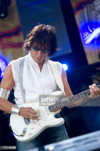 British musician Jeff Beck plays guitar onstage during a performance at Eric Clapton's Crossroads Guitar Festival at Toyota Park Bridgeview Illinois...