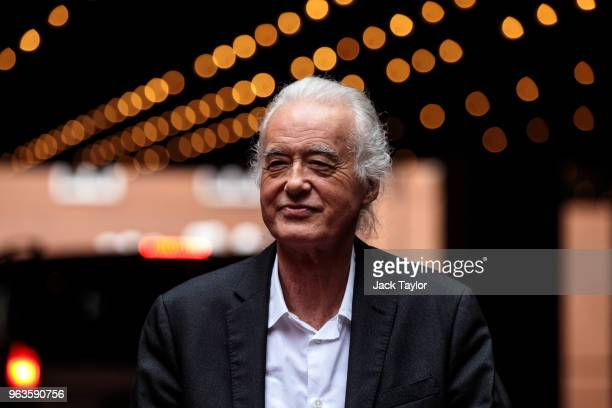 British musician Jimmy Page arrives for a Kensington and Chelsea Town Hall for a planning meeting on May 29 2018 in London England British singer...