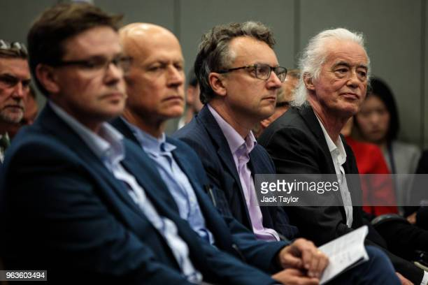 British musician Jimmy Page attends a planning meeting at Kensington and Chelsea Town Hall on May 29 2018 in London England British singer Robbie...