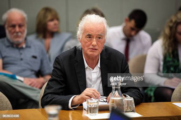 British musician Jimmy Page makes a statement at a planning meeting at Kensington and Chelsea Town Hall on May 29 2018 in London England British...