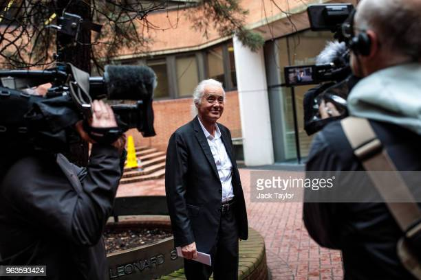 British musician Jimmy Page speaks to assembled media as he arrives for a Kensington and Chelsea Town Hall for a planning meeting on May 29 2018 in...