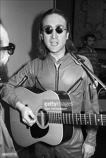 British musician John Lennon speaks with SoHo News Editor Jaakov Kohn at the Hilton Hotel New York New York April 18 1975 Lennon was there to perform...