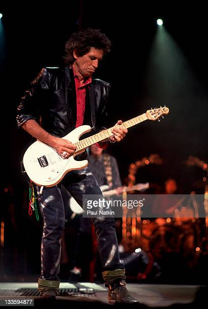 British musician Keith Richards of the Rolling Stones performs on stage during the band's 'Steel Wheels' tour late 1989