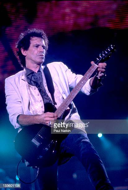 British musician Keith Richards of the Rolling Stones performs on stage during the band's 'Voodoo Lounge' tour late 1994