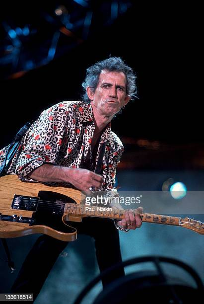 British musician Keith Richards of the Rolling Stones performs on stage during the band's 'Bridges to Babylon' tour late 1997 or early 1998