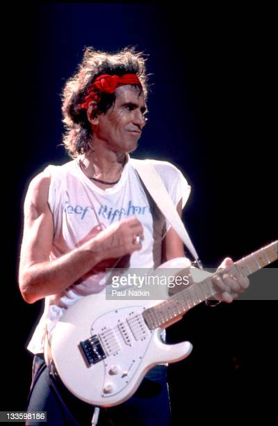British musician Keith Richards performs on stage with his band the Xpensive Winos late 1980s or early 1990s