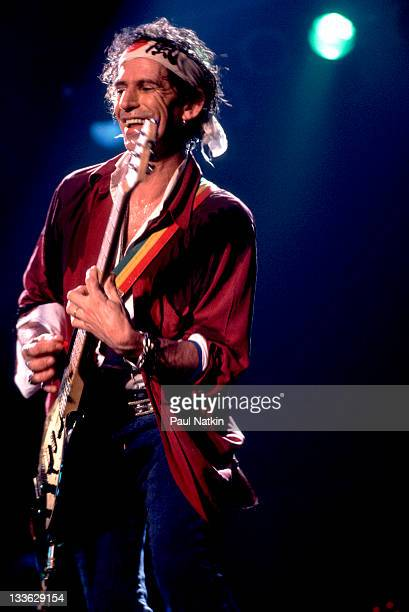 British musician Keith Richards performs on stage with his band the Xpensive Winos during their 'Main Offender' tour early 1993