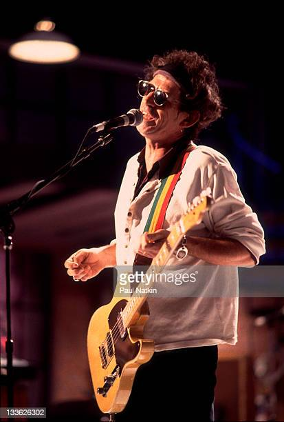 British musician Keith Richards performs with his band the Xpensive Winos on stage during the filming of an episode of the PBS television series...
