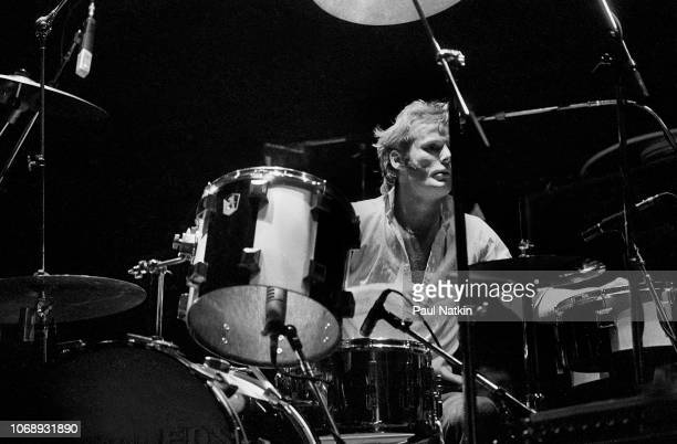 British musician Martin Chambers, of the group Pretenders, plays drums as he performs at the Park West, Chicago, Illinois, April 25, 1980.