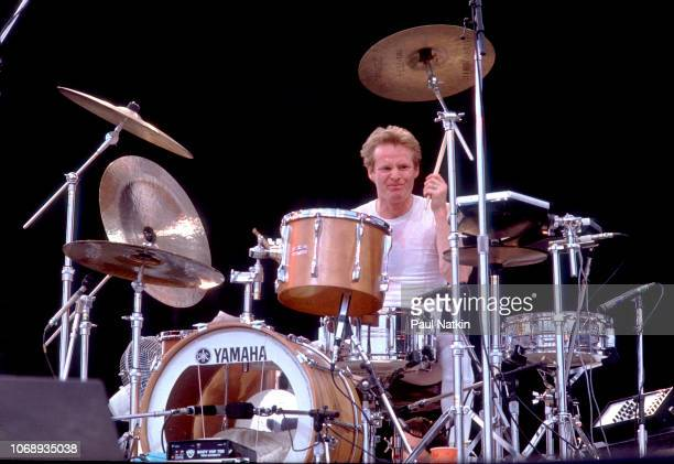 British musician Martin Chambers, of the group Pretenders, plays drums as he performs during the US Festival, Ontario, California, May 30, 1983.