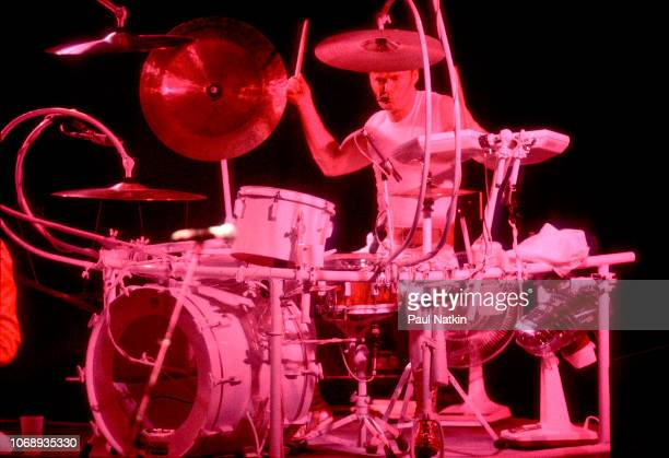 British musician Martin Chambers, of the group Pretenders, plays drums as he performs at the Poplar Creek Music Theater in Hoffman Estates, Illinois,...