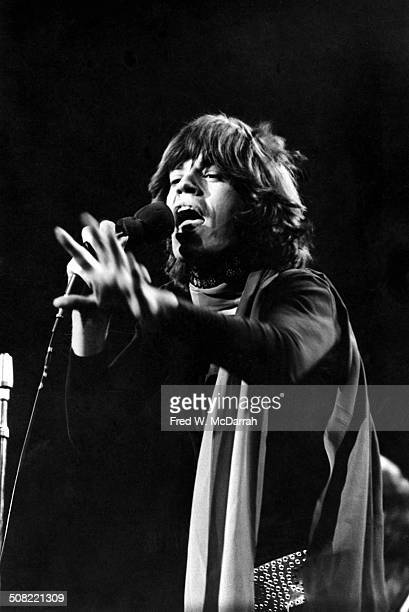 British musician Mick Jagger of the rock band the Rolling Stones performs on stage at Madison Square Garden New York New York November 27 1969