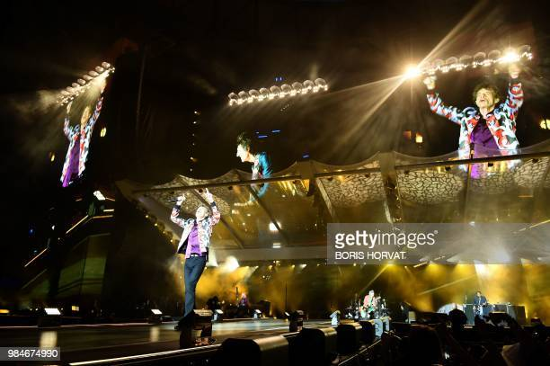 British musician Mick Jagger of The Rolling Stones performs during a concert at The Velodrome Stadium in Marseille on June 26 as part of their 'No...