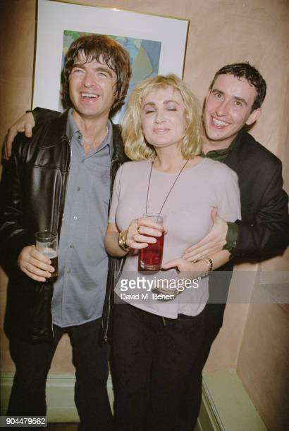 British musician Noel Gallagher comedian Caroline Aherne and entertainer Steve Coogan at the Lyceum Theatre after party for Steve Coogan's show 'The...