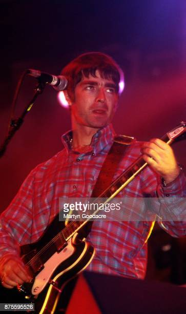 British musician Noel Gallagher of Oasis performs on stage at Earls Court London November 1995