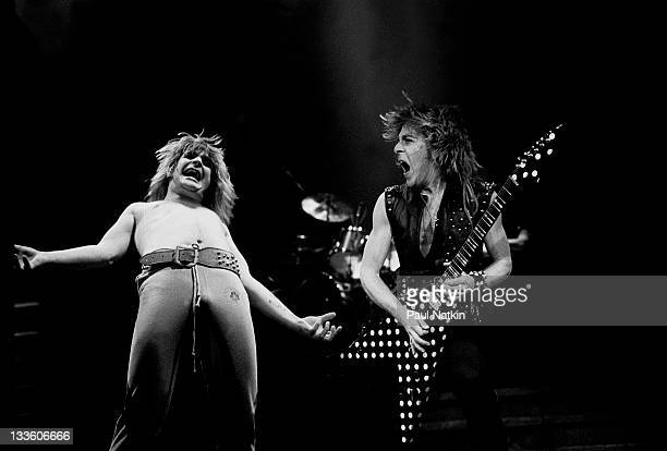 British musician Ozzy Osbourne and American musician Randy Rhodes perform at the Rosemont Horizon Rosemont Illinois January 24 1982