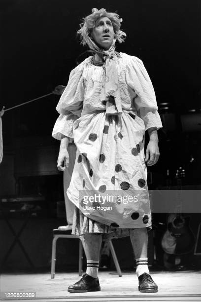 British musician Pete Townshend of the Who dresses in drag for a drugs benefit concert at the Dominion Theatre, 6th January 1986