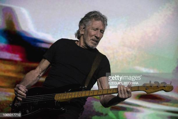 British musician Roger Waters performs on stage during a concert in San Jose on November 24 2018 Waters is one of the cofounders and principal...