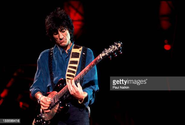 British musician Ron Wood of the Rolling Stones performs on stage during the band's 'Steel Wheels' tour late 1989