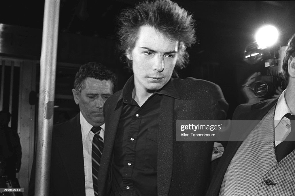 British musician Sid Vicious is arrested for the murder of his girlfriend, Nancy Spungen, New York, New York, October 12, 1978. The former bass player for the Sex Pistols who was awaiting trial for the murder of his girlfriend, Nancy Spungen.