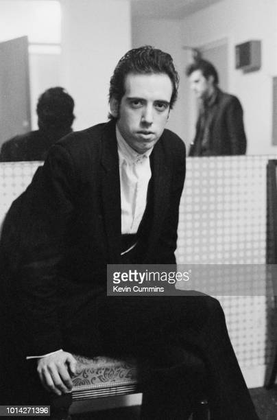 British musician, singer and songwriter Mick Jones backstage before a concert at De Montfort Hall, Leicester, during the '16 Tons' tour, UK, 16th...