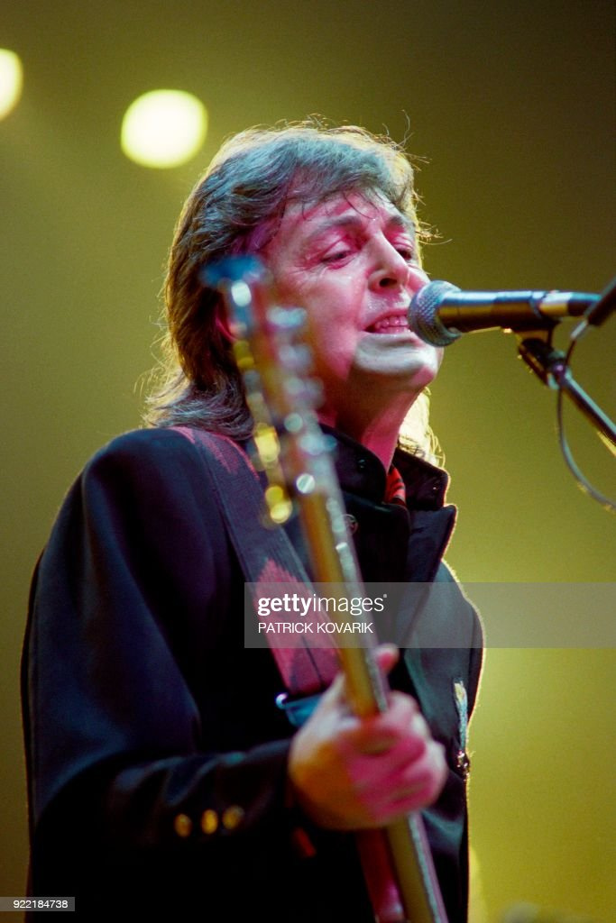 British musician, Sir Paul McCartney performs on October 9, 1989 at the Palais Omnisports de Paris Bercy (POPB)