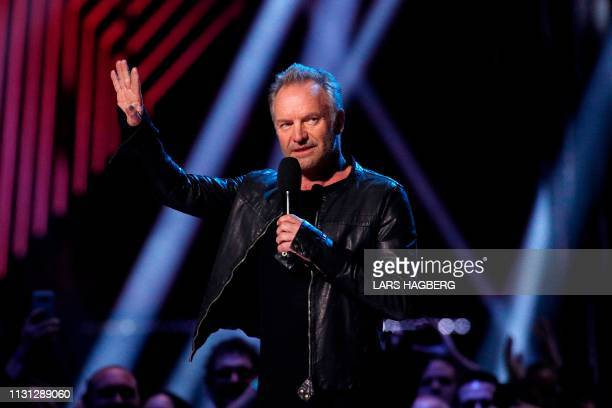 British musician Sting speaks onstage during the Juno Music Awards at Budweiser Gardens in London Ontario Canada on March 17 2019