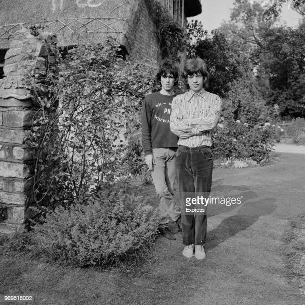 British musicians and singersongwriters Keith Richards and Mick Jagger of The Rolling Stones outside Richards's home 'Redlands' in West Wittering...