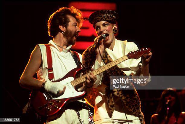 British musicians David A. Stewart and Annie Lennox of the Eurthymics perform at the Auditorium Theater, Chicago, Illinois, April 5, 1984.