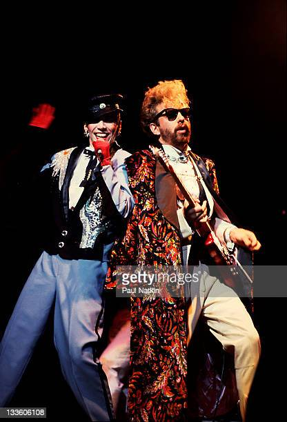 British musicians David A Stewart and Annie Lennox of the Eurthymics perform at the Poplar Creek Music Theater in Hoffman Estates Chicago Illinois...