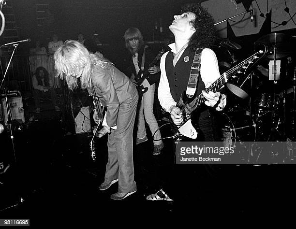 British musicians David Sylvian Mick Karn and Rob Dean of the British pop group Japan perform on stage London England late 1970s