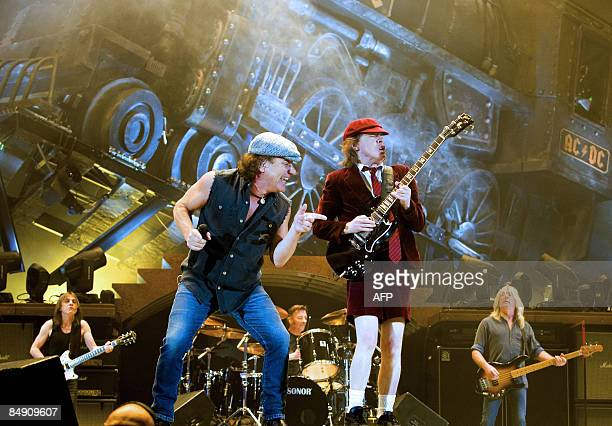 OUT**** British musicians from rockband AC/DC Brian Johnson and guitarist Angus Young Brian perform at Telenor Arena on Fornebu outside Oslo on...