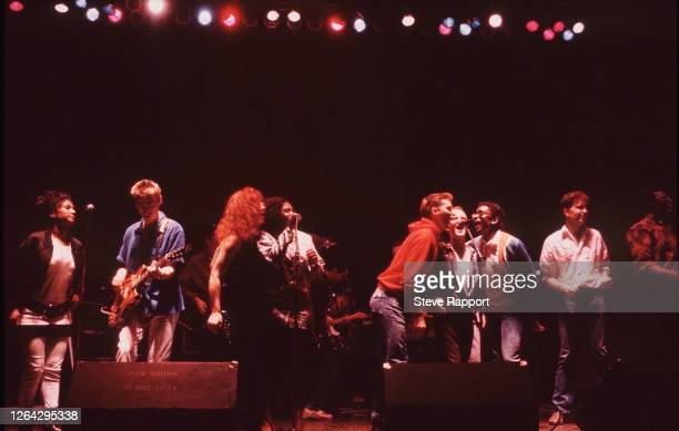British musicians including from left Dee C Lee Paul Weller Sarah Jane Morris Juliet Roberts Billy Bragg Jimmy Somerville and Junior Giscombe Red...