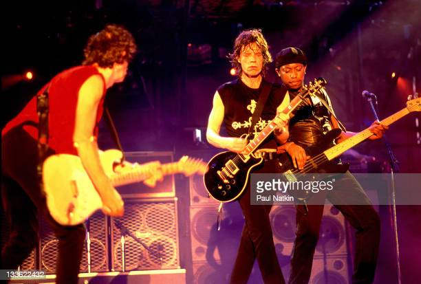 British musicians Keith Richards and Mick Jagger of the Rolling Stones perform on stage during the band's 'Voodoo Lounge' tour late 1994