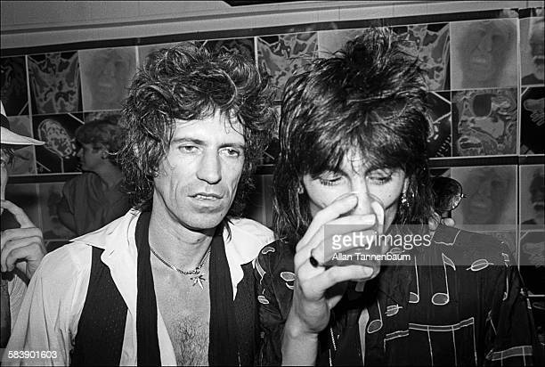 British musicians Keith Richards and Ron Wood, of the group the Rolling Stones, visit Danceteria, New York, New York, June 26, 1980. The band was...