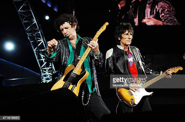 British musicians Keith Richards and Ronnie Wood of the Rolling Stones band during a concert at the Olympic Stadium Rome July 6 2007