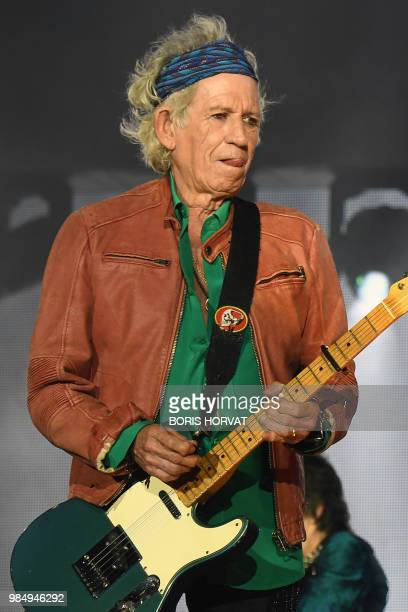 British musicians Keith Richards, of The Rolling Stones performs during a concert at The Velodrome Stadium in Marseille on June 26 as part of their...