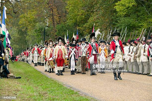 British Musicians march at Surrender Field at the 225th Anniversary of the Victory at Yorktown a reenactment of the siege of Yorktown where General...