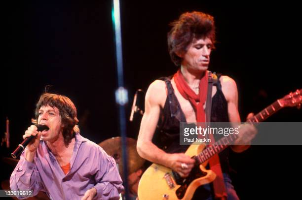 British musicians Mick Jagger and Keith Richards of the band The Rolling Stones perform on stage during a North American tour 1981
