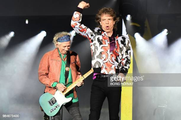 British musicians Mick Jagger and Keith Richards of The Rolling Stones perform during a concert at The Velodrome Stadium in Marseille on June 26 as...