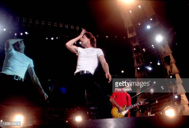 British musicians Mick Jagger and Keith Richards of the Rolling Stones perform on stage during the band's 'Voodoo Lounge' tour late 1994