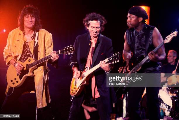 British musicians Ron Wood and Keith Richards and American musician Darryl Jones of the Rolling Stones perform on stage during the band's 'Voodoo...
