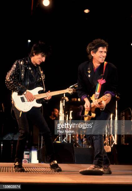 British musicians Ron Wood and Keith Richards of the Rolling Stones performs on stage during the band's 'Steel Wheels' tour late 1989