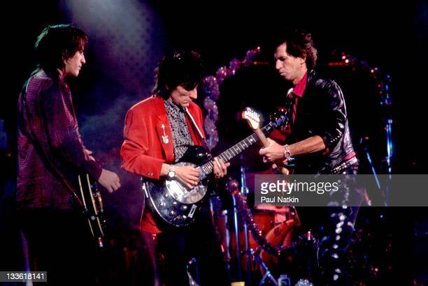 British musicians Ron Wood and Keith Richards of the Rolling Stones perform with American musician Izzy Stradlin on stage during the band's 'Steel...